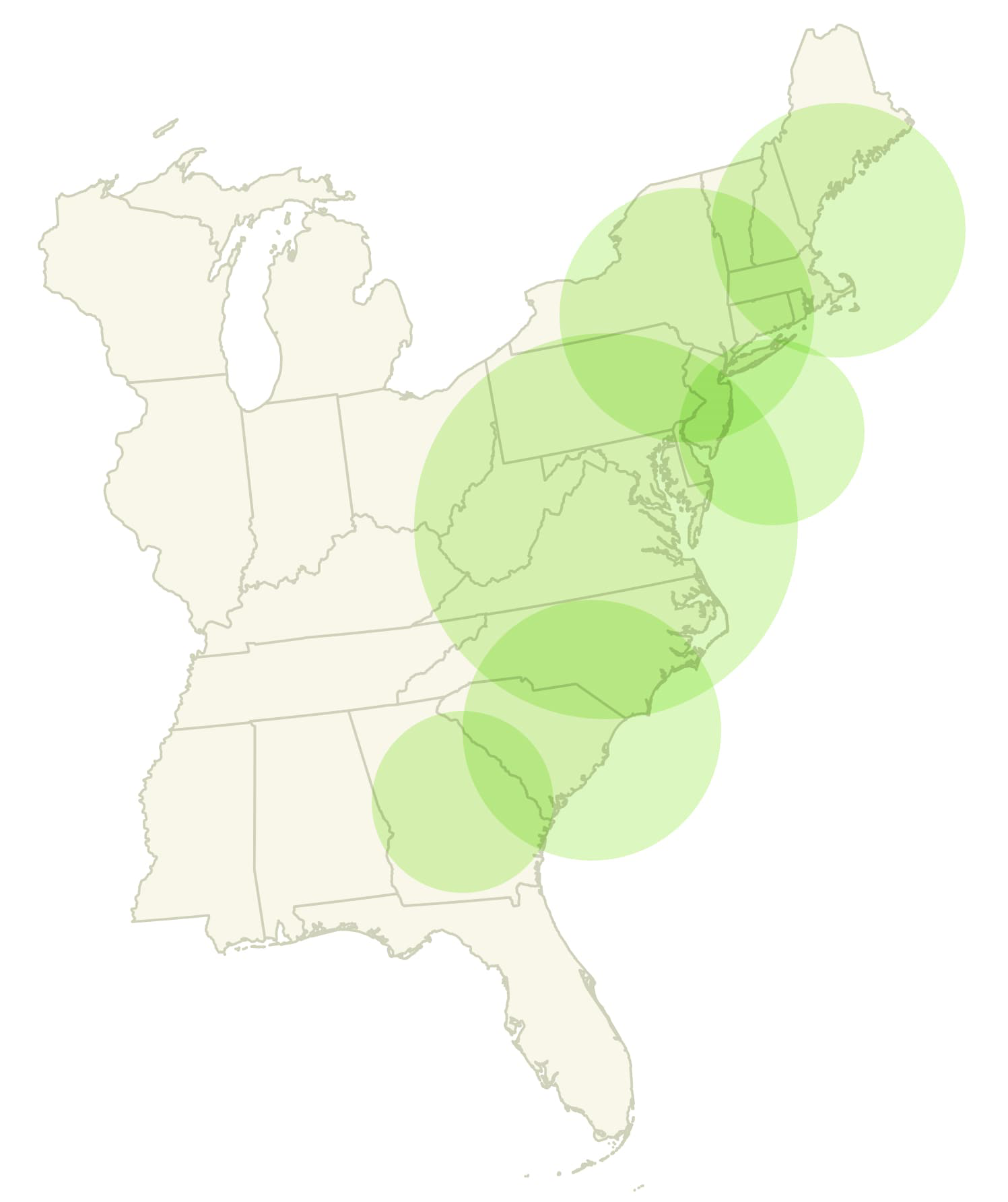 H&S Bakery Baked Bread distribution map (East Coast - U.S.)